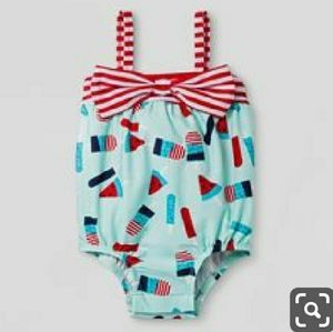 Baby Girl Bow Popsicle One Piece Swimsuit